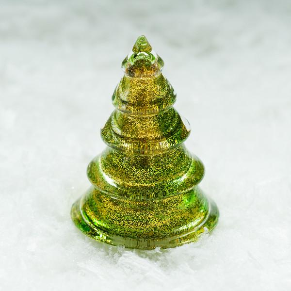 Glasbaum 'Mica' mit Goldglitter klein - grün