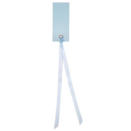 Tischkärtchen mit Satinband (12 Stück) - hellblau