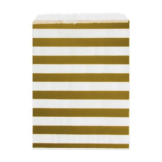 24 Adventskalender Tüten 'Streifen' zum Befüllen - gold & weiß