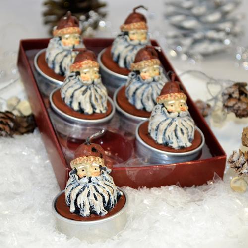 Teelicht Weihnachtsmann 'Nikolaus' (6 Stück)