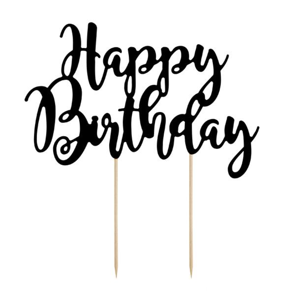 Tortenstecker Happy Birthday Schwarz