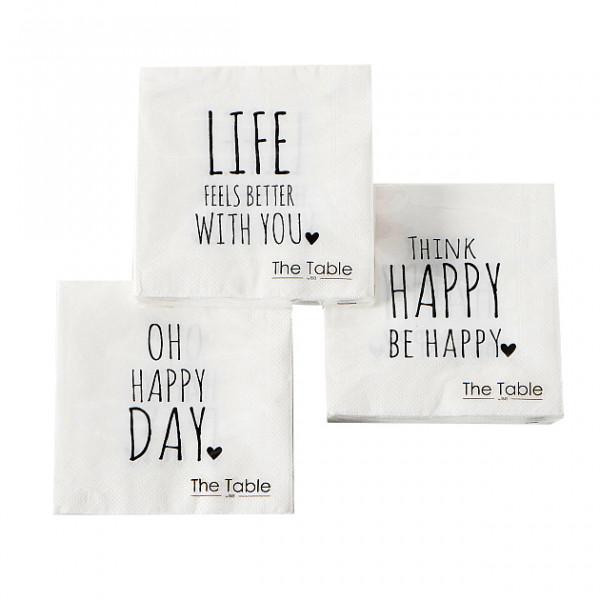 3 x 20 Cocktailservietten 'Oh Happy Day' - weiß & schwarz