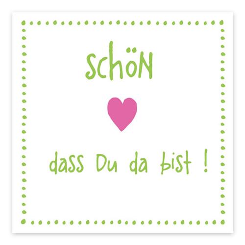 Servietten 'Schön, dass du da bist!' (20 Stück) - hellgrün