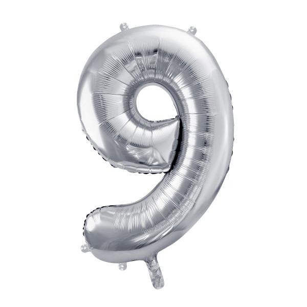 Folienballon '9' 86 cm - silber