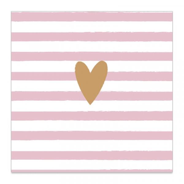 Servietten gestreift mit goldenem Herz (20 Stück) - rosa