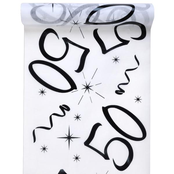 Tischläufer 50. Geburtstag - weiß & schwarz