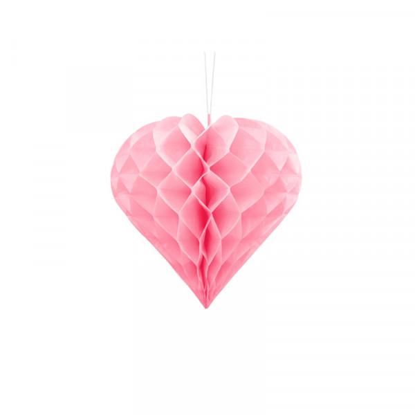 Herz Honeycomb / Wabenball Rosa 20 cm