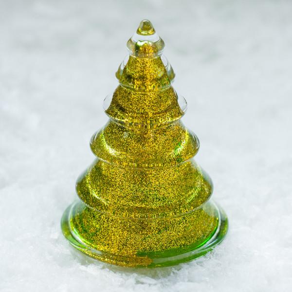 Glasbaum 'Mica' mit Goldglitter groß - grün