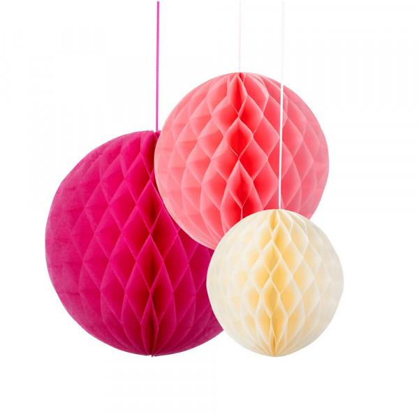 Honeycombs / Wabenbälle (3 Stück) - pink, rosa & creme