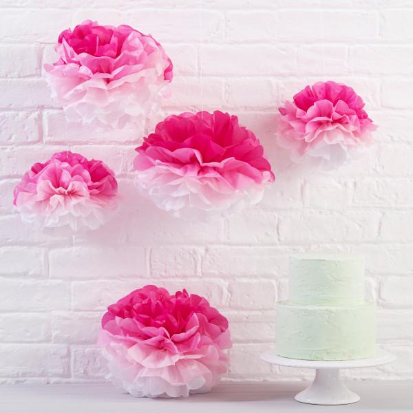 Pom Poms (5 Stück) - Ombré pink