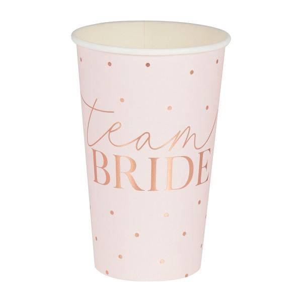 Blush Party Becher Team Bride 8 Stück