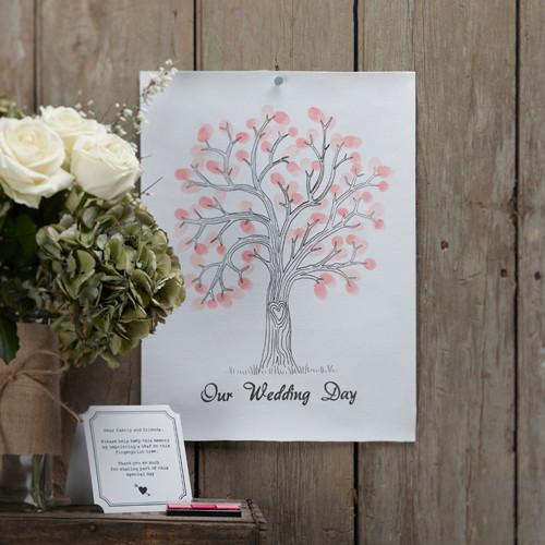 Leinwand mit Baum für Fingerabdrücke als Alternative zum Gästebuch - rosa & pink
