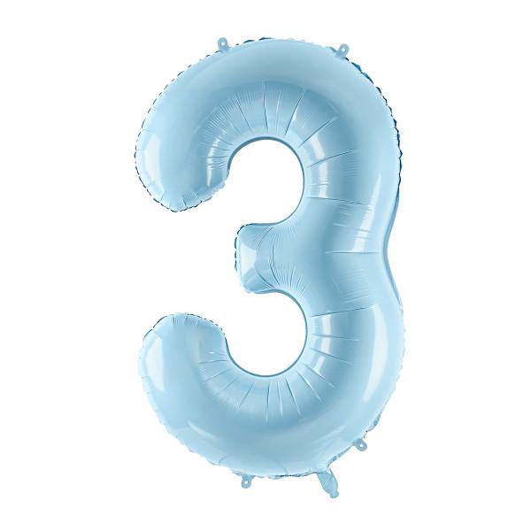 Folienballon '3' 86 cm - hellblau