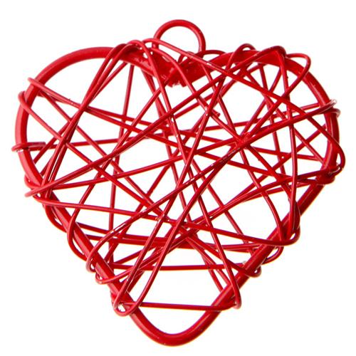 Anhänger 'Herzen' (6 Stück) - rot