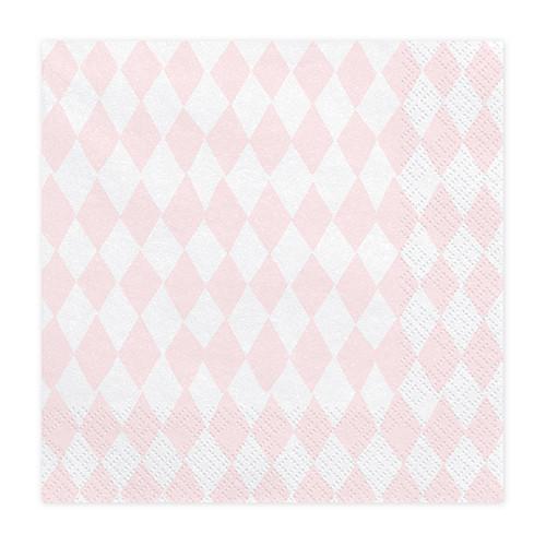 Einhorn Party Servietten Rauten (20 Stück) rosa