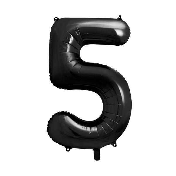Folienballon '5' 86 cm - schwarz