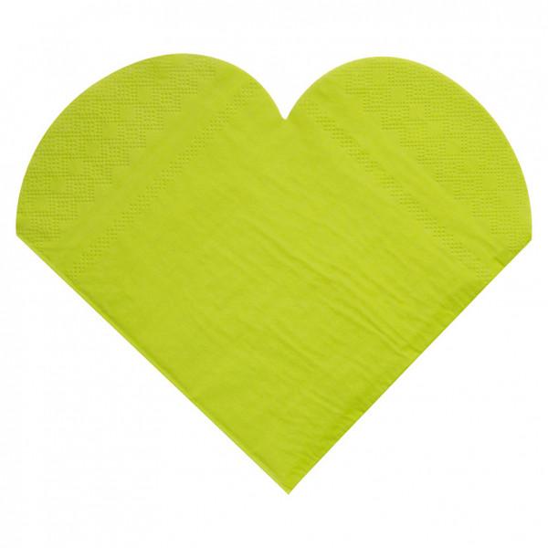 Servietten Herz (20 Stück) - hellgrün