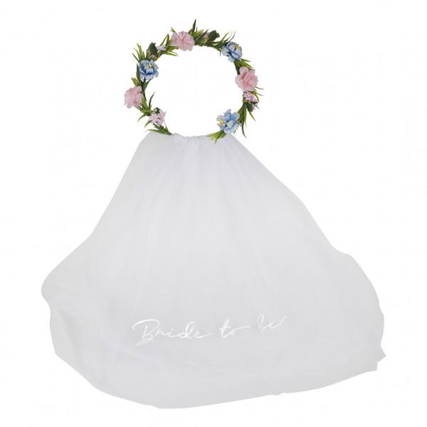 Boho Floral Blumenkranz mit Schleier