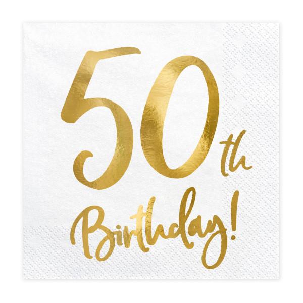 Servietten '50th Birthday' (20 Stück) weiß & gold