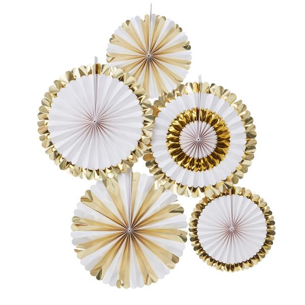 Dekofächer / Dekorosetten (5 Stück) - gold & weiß