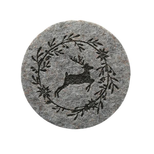 Untersetzer 'Leopold', Filz, Rund (6 Stück) 10 cm - hellgrau
