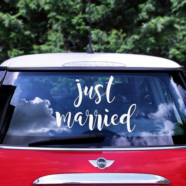 Auto Aufkleber 'just married', 33 x 45 cm - weiß
