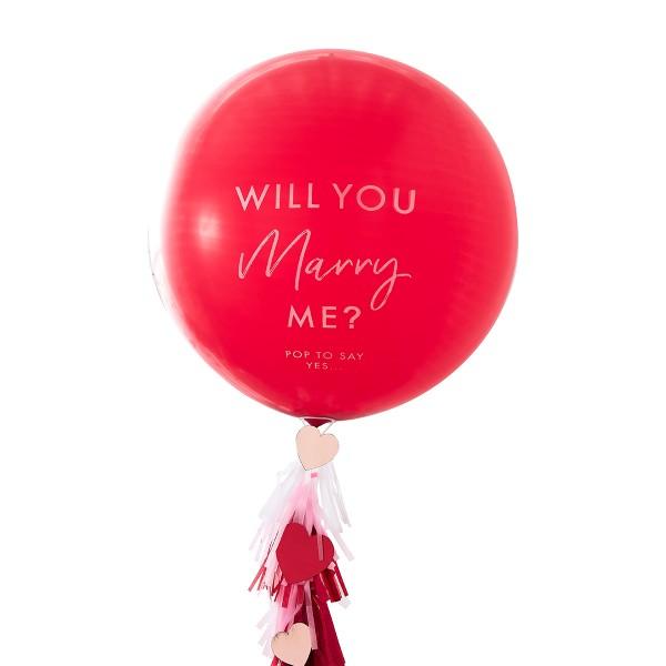 Heiratsantrag Ballon Set rot 91 cm