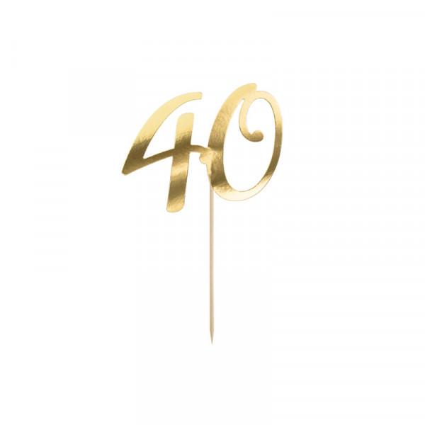 Tortenstecker '40' 40. Geburtstag - gold
