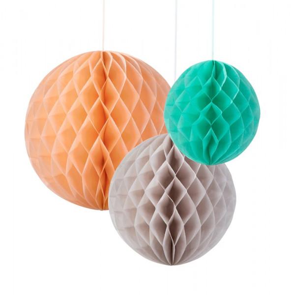 Honeycombs / Wabenbälle (3 Stück) - apricot, grau & mint