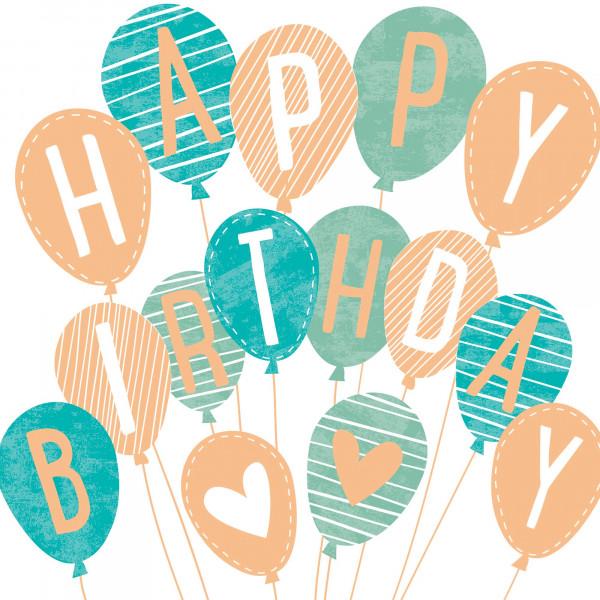 Servietten 'Happy Birthday Ballons' (20 Stück) - mint