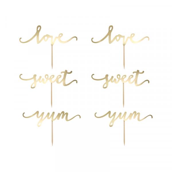 Cupcake Topper 'Sweet, Love & Yum' (6 Stück) - gold