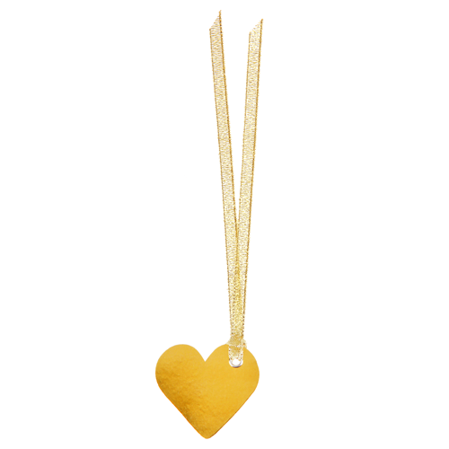 Tischkärtchen 'Herz' mit Satinband (12 Stück) - gold