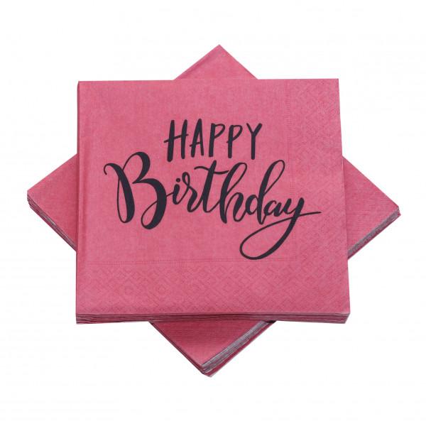 Servietten 'Happy Birthday' altrosa & anthrazit (20 Stück)