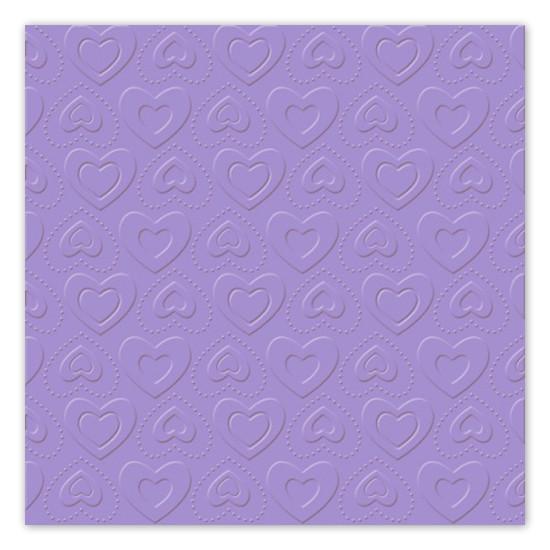 Servietten Herzen geprägt (16 Stück) - flieder