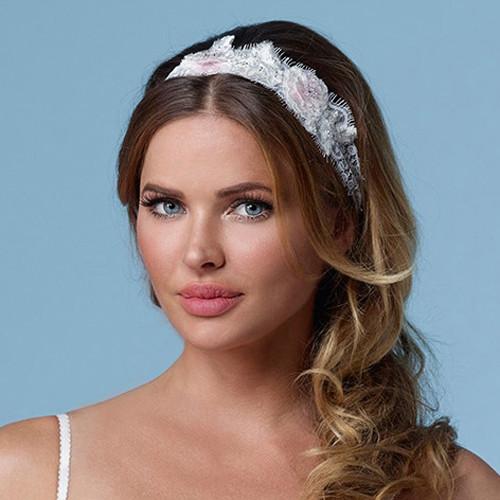 Haarband Spitze mit Blüten, Strass & Glasperlen - creme & rosa