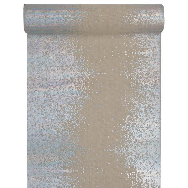 Tischläufer Sprinkles 28 cm x 3 m - natur & silber