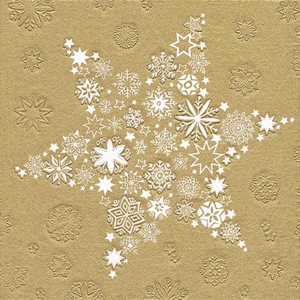 Servietten Weihnachtsstern (16 Stück) - weiß & gold