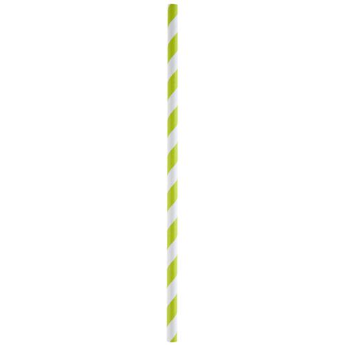 Strohhalme / Trinkhalme 'Streifen' (20 Stück) - hellgrün