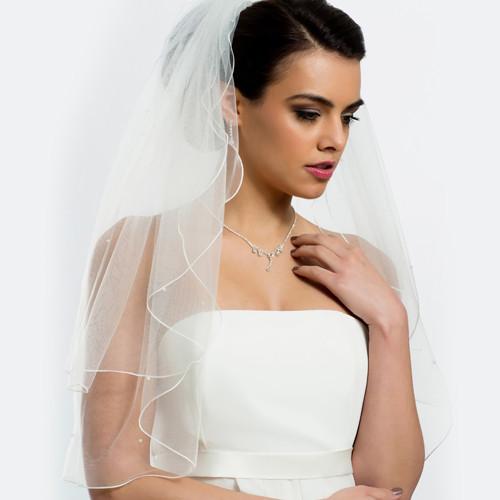 Brautschleier 'Soft' mit Perlen Länge 70 / 60 cm - creme