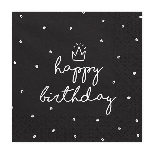 Servietten Happy Birthday Krone (20 Stück) - schwarz