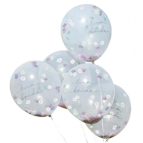Boho Floral Konfetti Luftballons 'Team Bride' 5 Stück