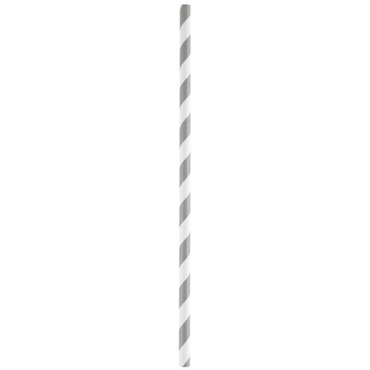 Strohhalme / Trinkhalme 'Streifen' (20 Stück) - grau