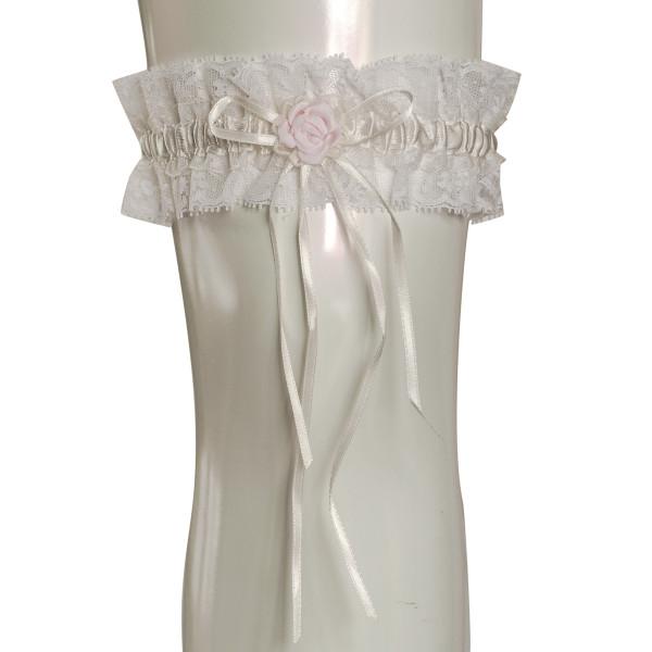 Strumpfband mit Rose - creme & rosa