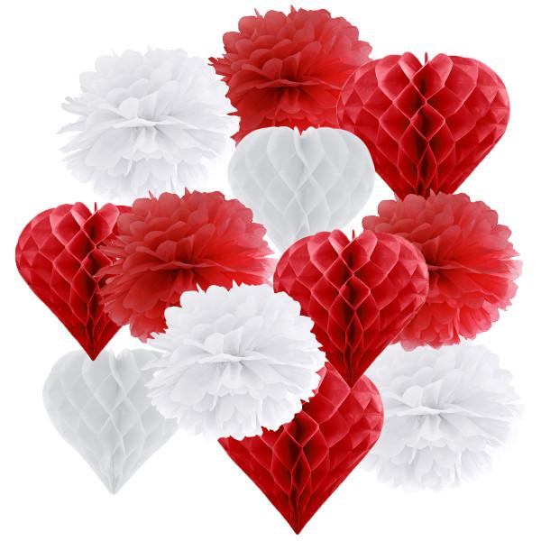 Hängedekoration 12 teilig Mix Rot & Weiß - Herz-Wabenbälle & Pompoms