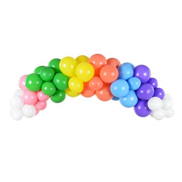 Ballon Girlande / Bogen 60 Stück 200 cm - Regenbogen