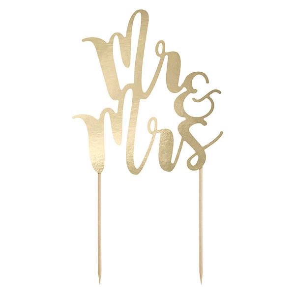 Tortenstecker Mr & Mrs Gold