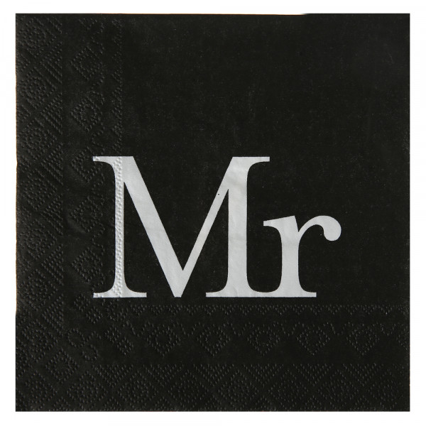 Servietten Mr (20 Stück) - schwarz & weiß