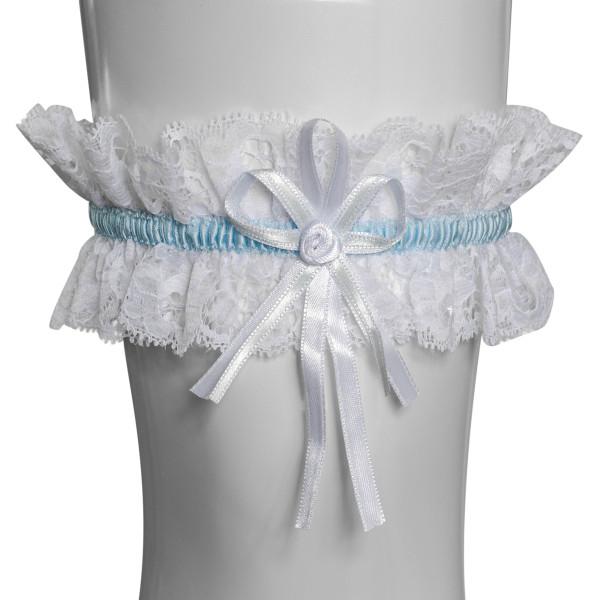 Strumpfband mit Rosenblüte - weiß
