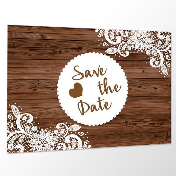 Save the Date Karte Hochzeit - Holz Vintage