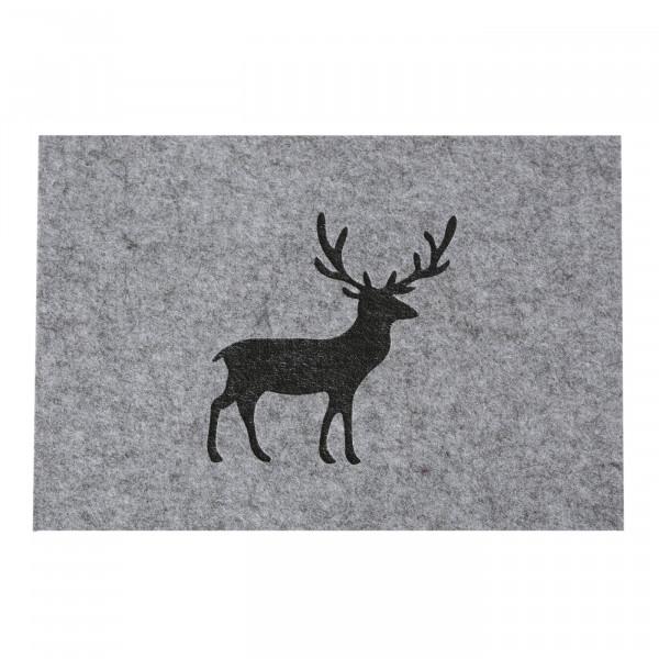 Tischsets / Platzsets 'Hirsch', Filz (4 Stück) 45 cm x 35 cm - grau
